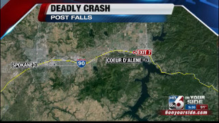 Two killed in crash on I-90 in Post Falls