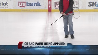 Ice and paint being applied to CenturyLink Arena