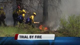 Wildland firefighting students train