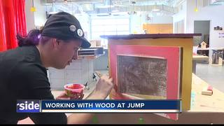 Working with wood at jump