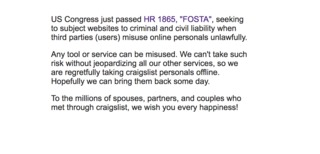 Craigslist takes down personals section