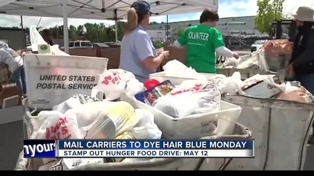 Local mail carriers get a new blue 'do for Stamp Out Hunger