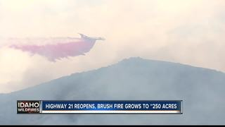 Highway 21 reopens; Fire estimated 250 acres